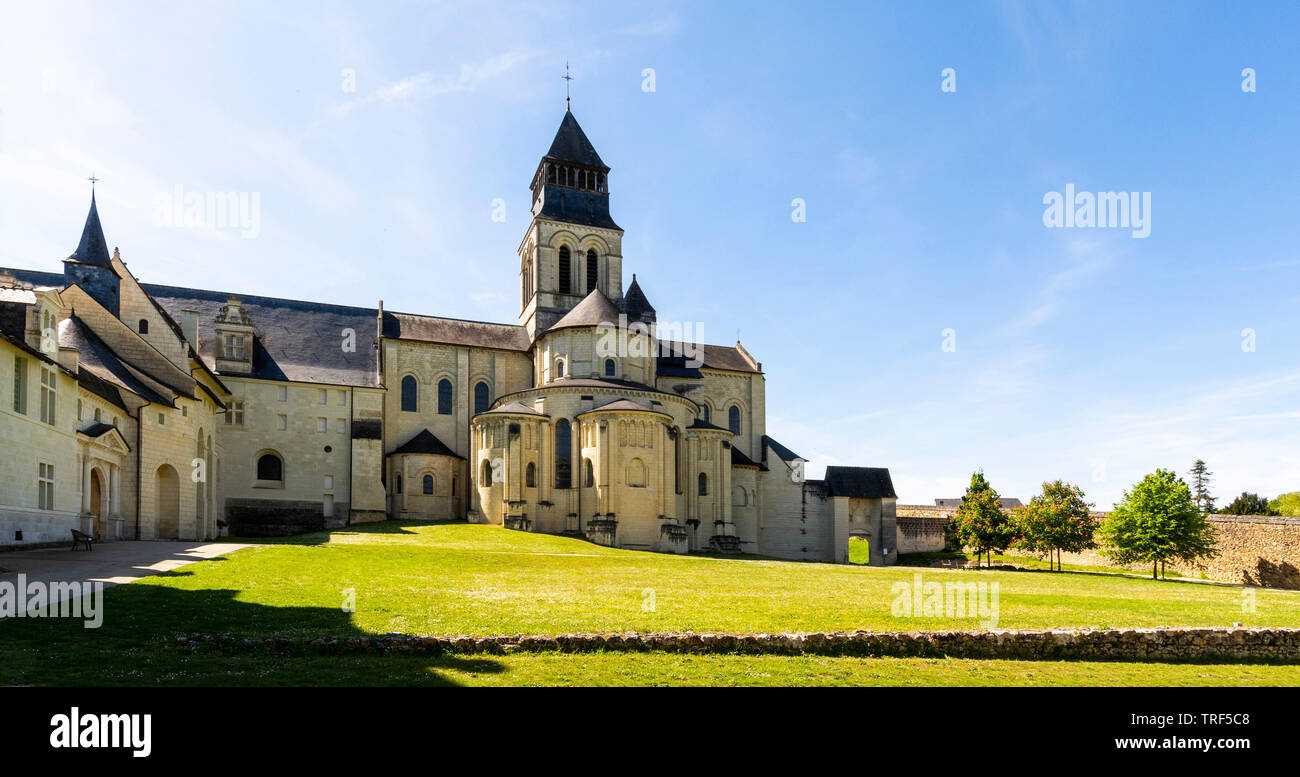 Chevet of the abbey church of Fontevraud Abbey, Fontevraud l'Abbaye, Maine-et-Loire, Pays de la Loire, France Stock Photo