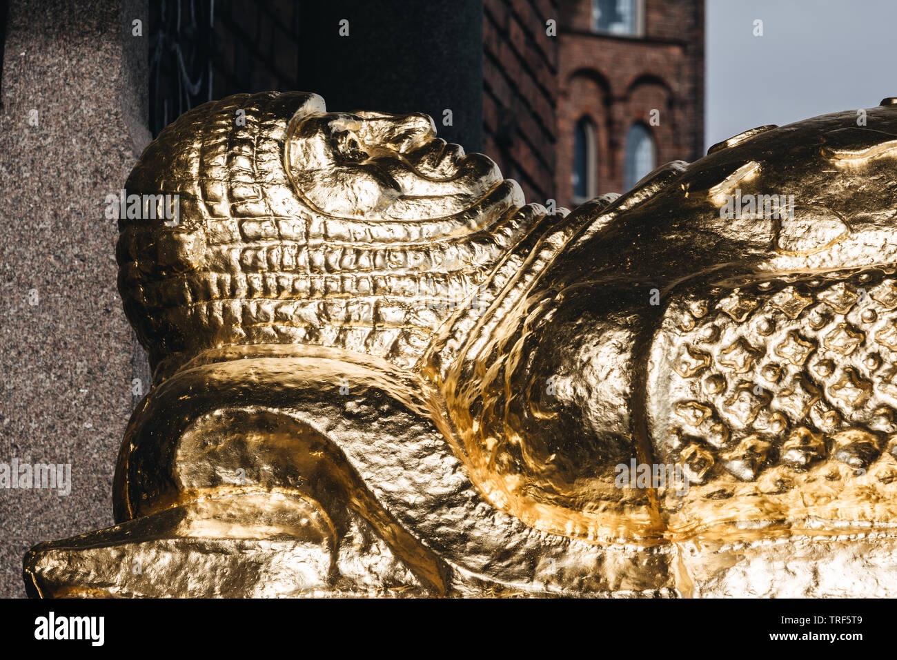 Editorial 03.27.2019 Stockholm Sweden Golden head of Birger Jarl, the founder of the city - Stock Image