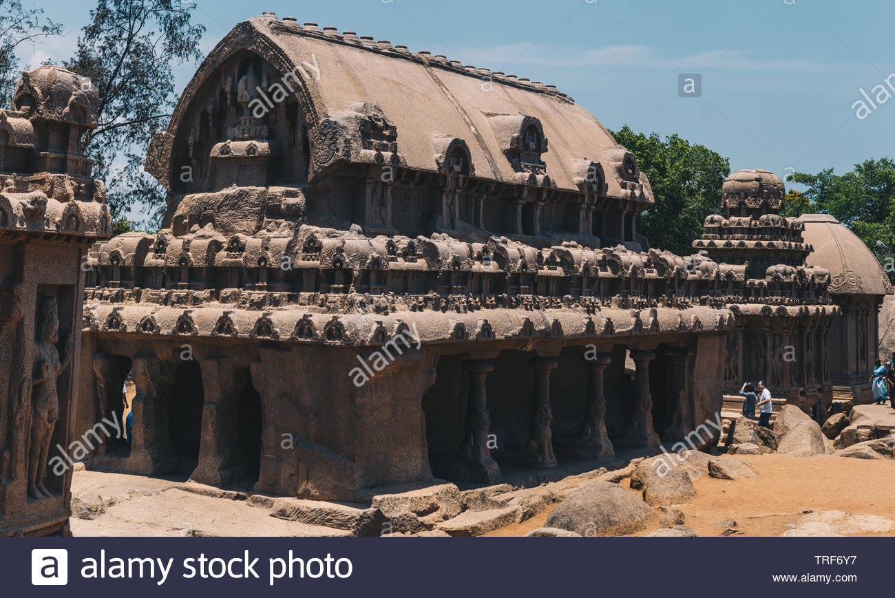 The Shore Temple is a carved monolithic pyramidal structures from one big granite in the Mahabalipuram compound of Tamil Nadu near Chennai, India Stock Photo