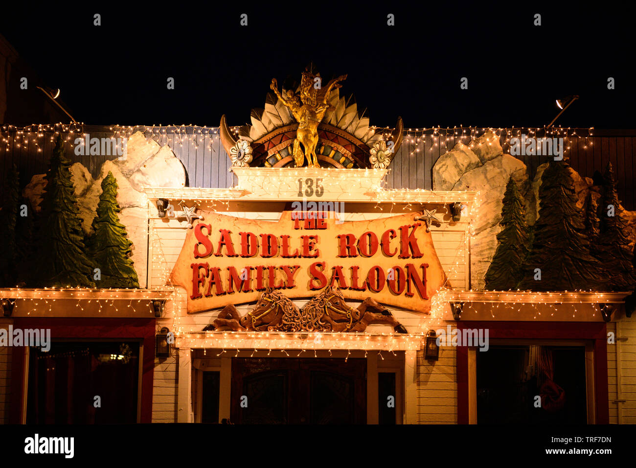 The Saddle Rock Family Saloon, in the western, USA town of Jackson, Wyoming, a popular tourist stop near both Teton's National Park, and Yellowstone N - Stock Image