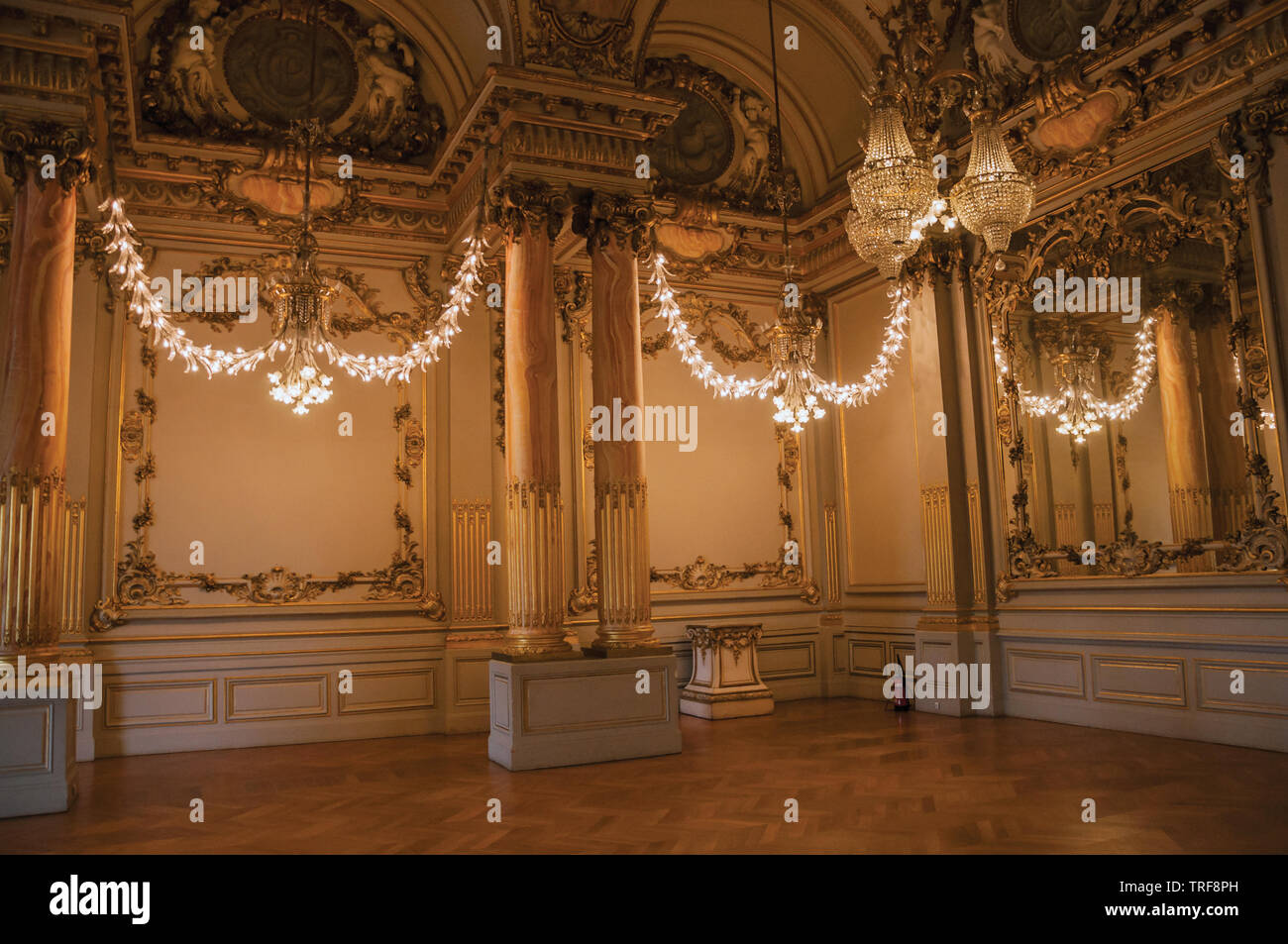 Luxurious lounge decoration at the Quai d'Orsay Museum in Paris. One of the most impressive world's cultural center in France. Stock Photo