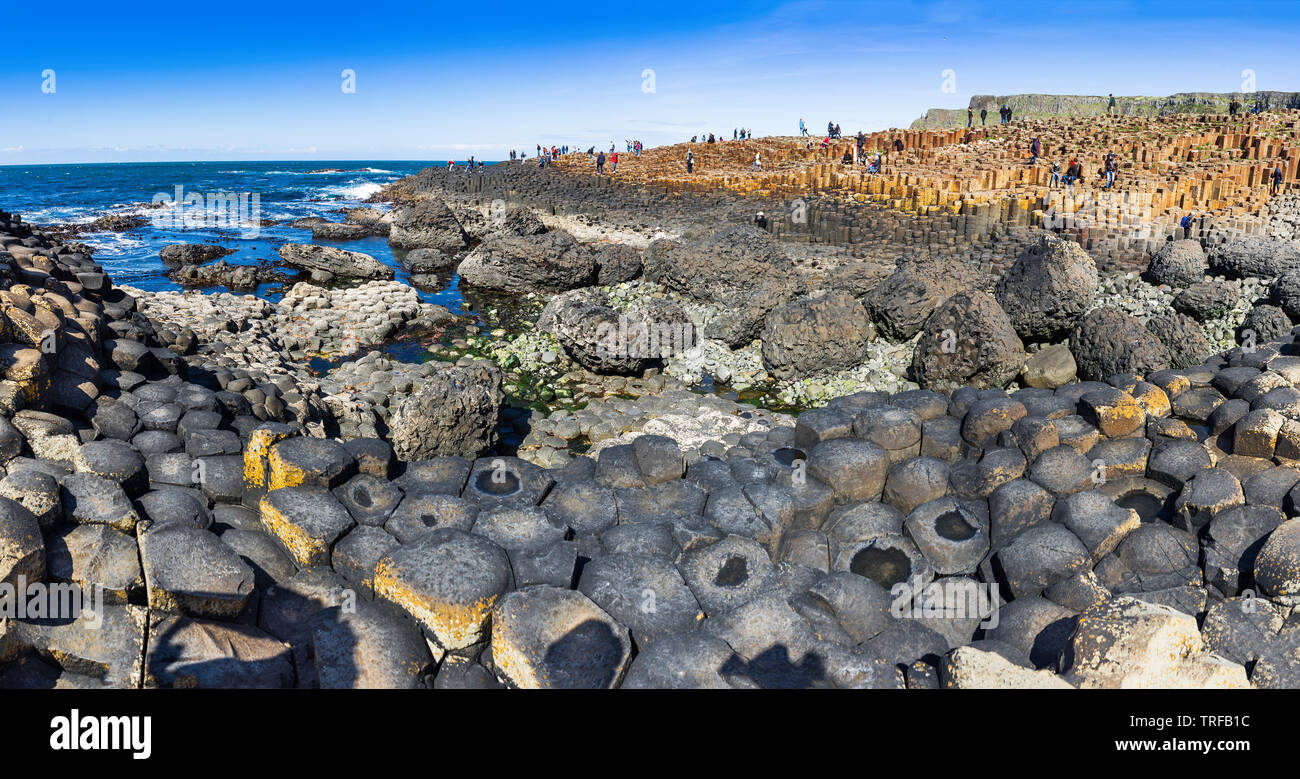 The natural landscape of Giant's Causeway in Northern Ireland - Stock Image