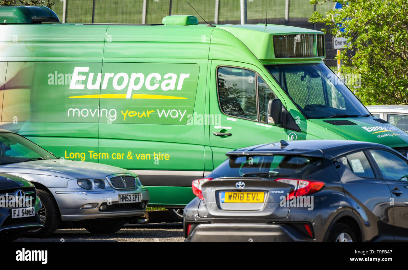 LONDON HEATHROW AIRPORT, ENGLAND - MARCH 2019: Large service van of the car and van hire company Europcar parked in the depot at London Heathrow Airpo - Stock Image
