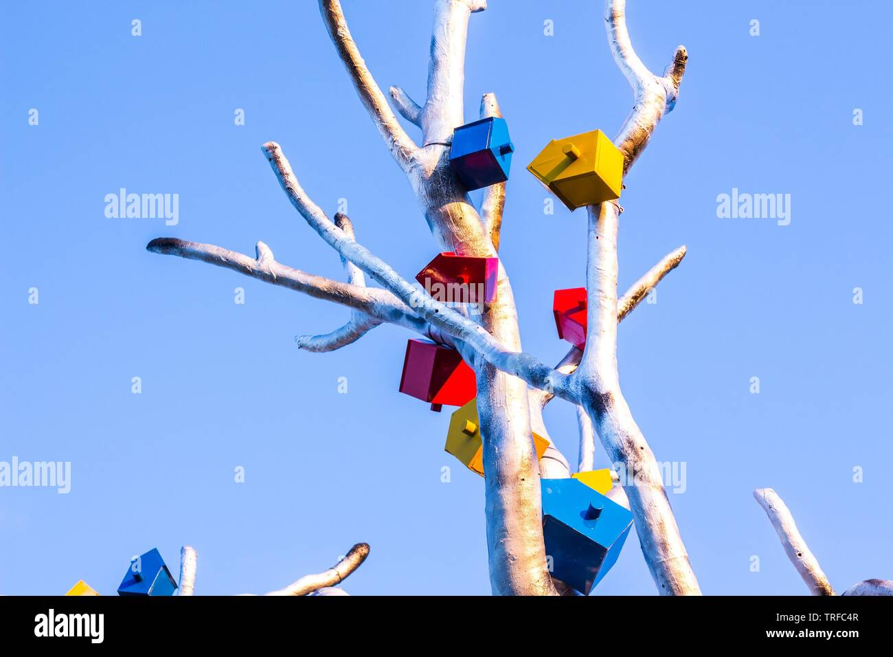 Feeders for birds are attached to a tree made of metal. The tree is against the blue and clear sky - Stock Image