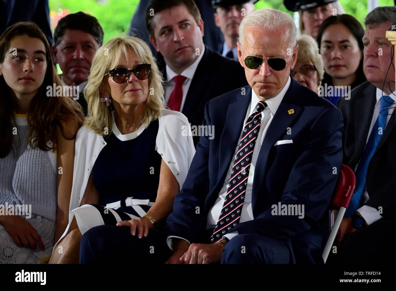 Presidential Hopeful Former Vice President Joe Biden With Sunglasses Joined By Dr Jill Biden And Granddaughter Natalie Biden On His Side Attend T Stock Photo Alamy