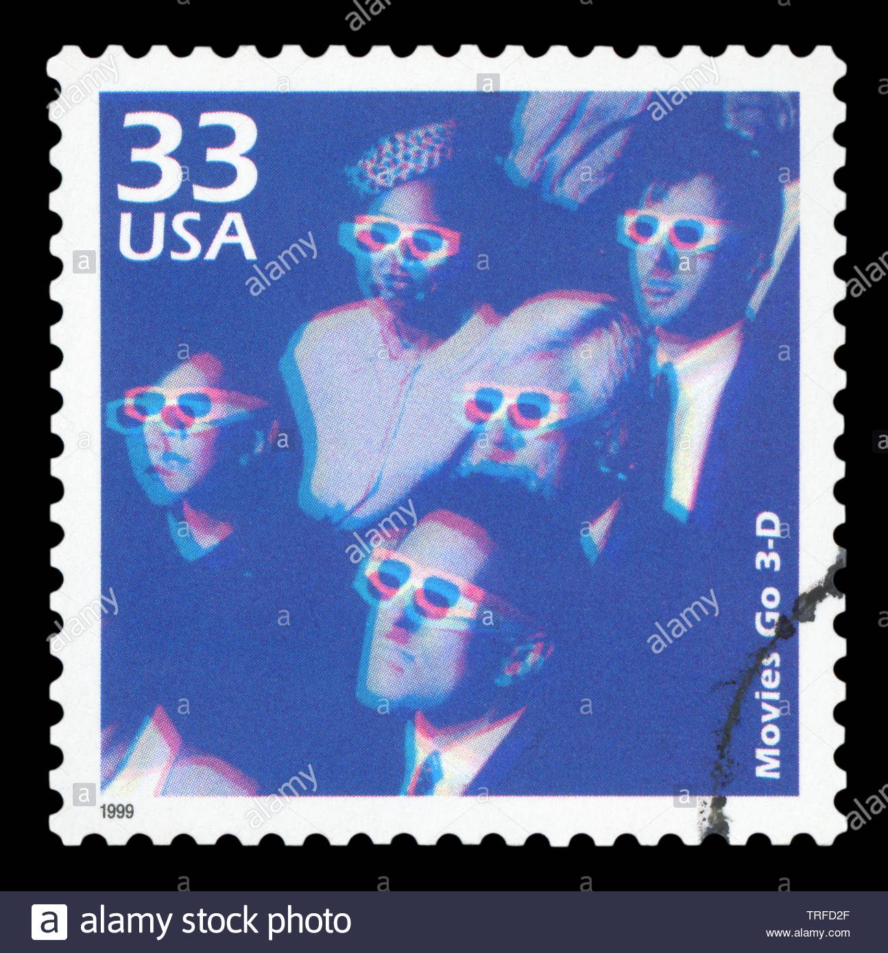 UNITED STATES OF AMERICA, CIRCA 1999: a postage stamp printed in USA showing an image of people watching a 3D movie, circa 1999. - Stock Image
