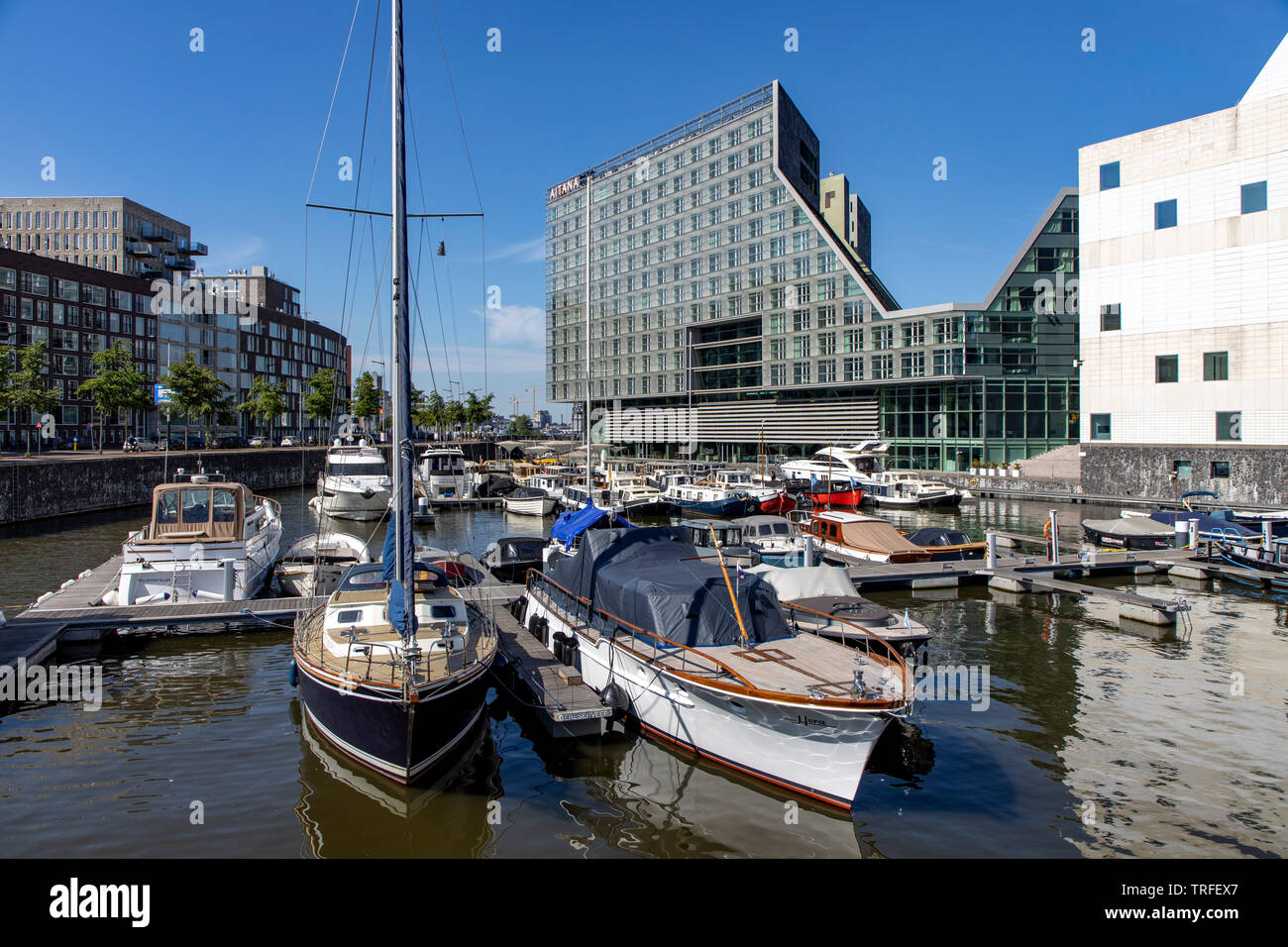 Amsterdam, Netherlands, Idock Island house complex, former Westerdoksdijks, a modern area of various office, residential and administrative buildings, - Stock Image