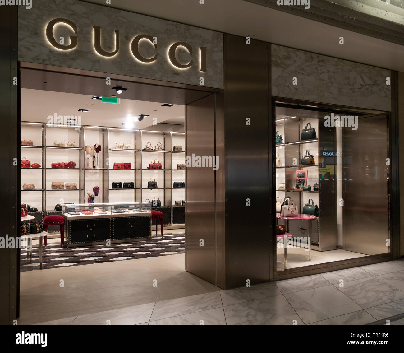 Gucci luxury handbag and accessory shop / retail unit at Schiphol Airport, Amsterdam - Stock Image