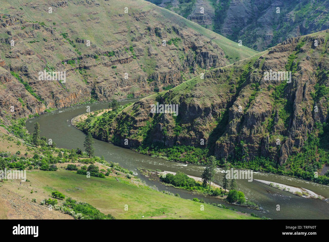 grande ronde river in canyon near anatone, washington - Stock Image