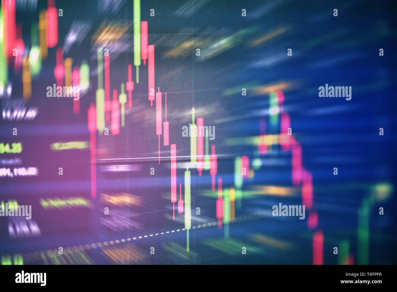 Stock crisis red price drop down chart fall / Stock market exchange analysis or forex graph business and finance crash money losing moving economic in - Stock Image