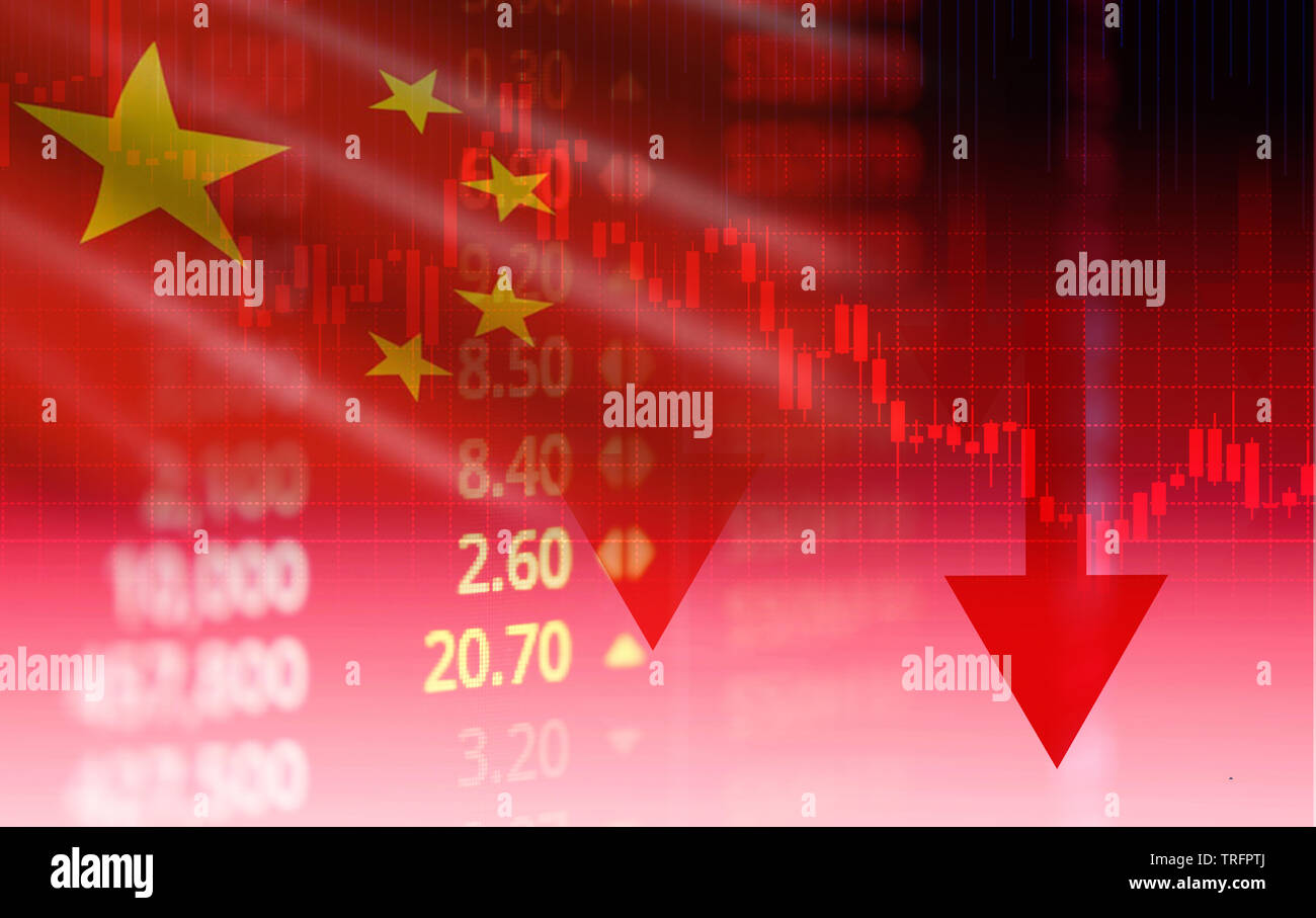 China stock market / Shanghai stock exchange analysis indicator trading graph chart business crisis red price arrow down chart fall finance money econ - Stock Image