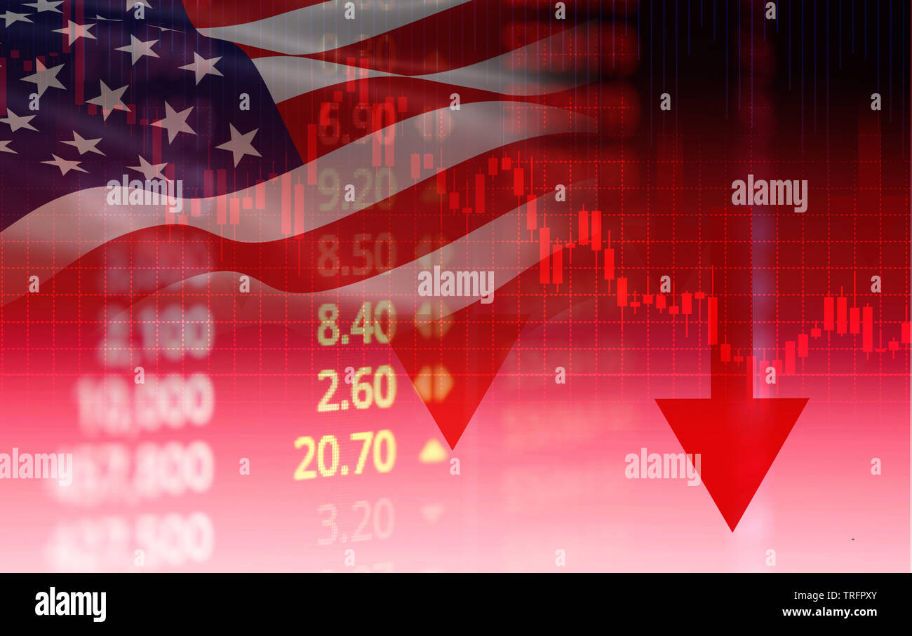 USA. America stock market crisis red price arrow down chart fall / New york Stock Exchange or forex graph business finance money crisis losing moving - Stock Image