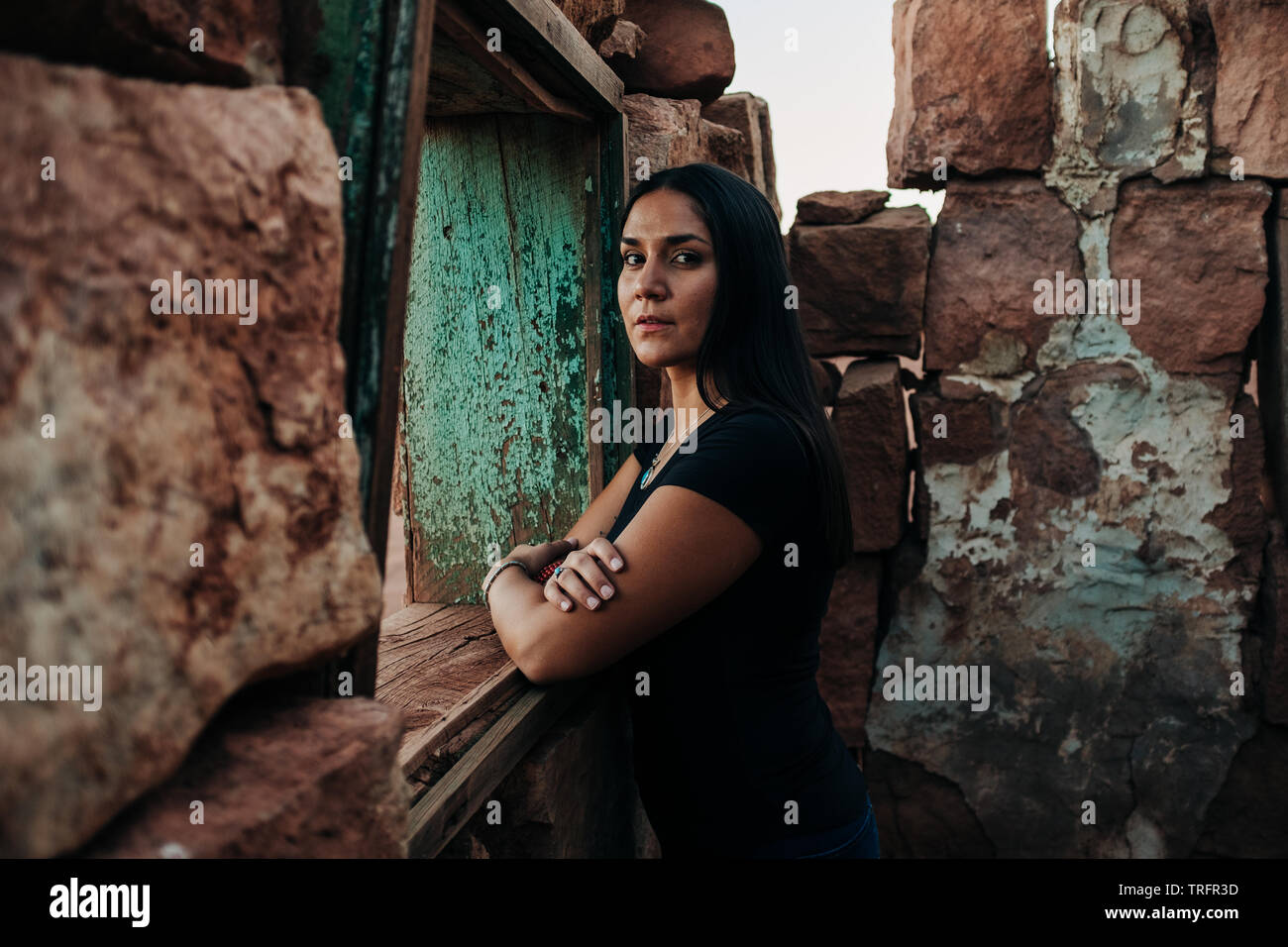 A Navajo Woman Models Her Modern Native American Outfit On The Navajo Reservation In Northern Arizona She Wears Turquoise Jewelry And A Cowboy Hat Stock Photo Alamy