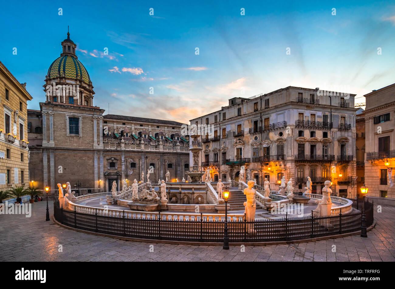 Piazza Pretoria and the Praetorian Fountain in Palermo, Sicily, Italy. Stock Photo