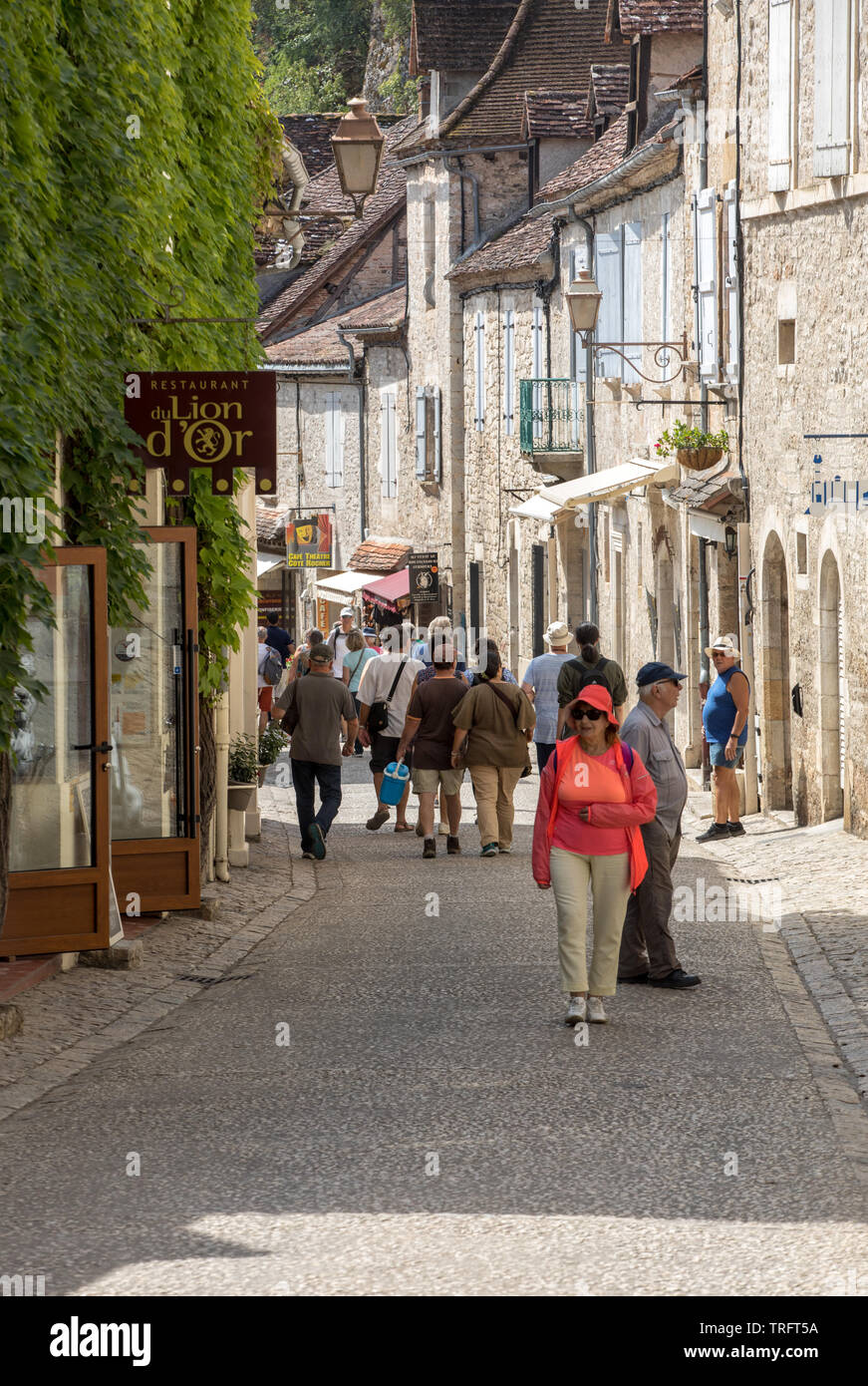 Rocamadour, France - September 3, 2018: Tourists walking in the medieval centre of Rocamadour. France Stock Photo