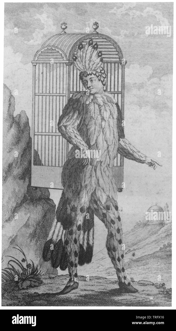 W. A. Mozart 'Die Zauberfloete', statuette of the 'Papageno' (Immanuel Schikaneder) by the edition of the libretto (Vienna: Alberti 1791), , Additional-Rights-Clearance-Info-Not-Available - Stock Image