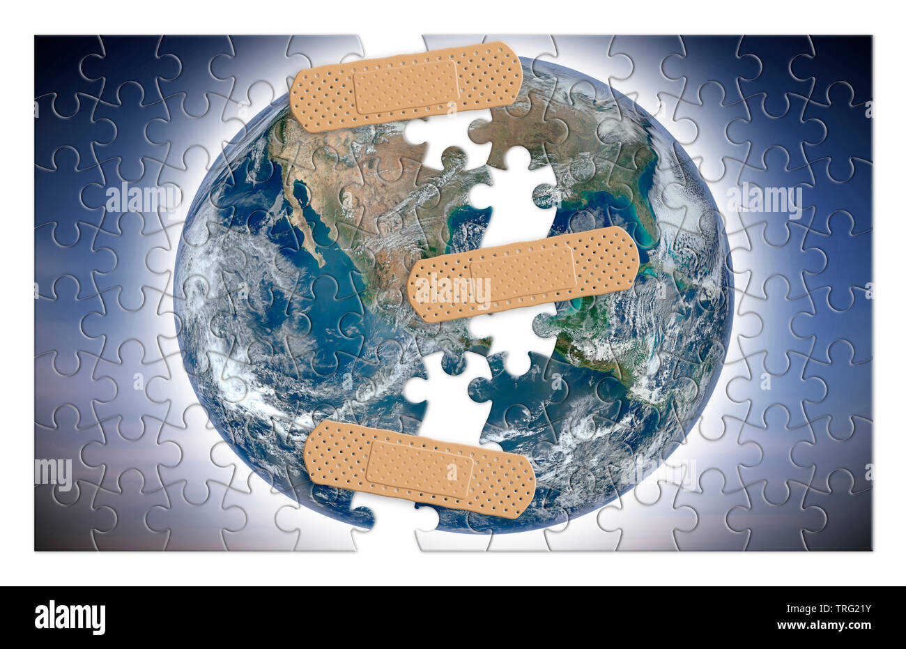 Rebuild our world - concept image with elements from Nasa in jigsaw puzzle shape. - Photo composition with image from NASA. - The image of the planet Stock Photo