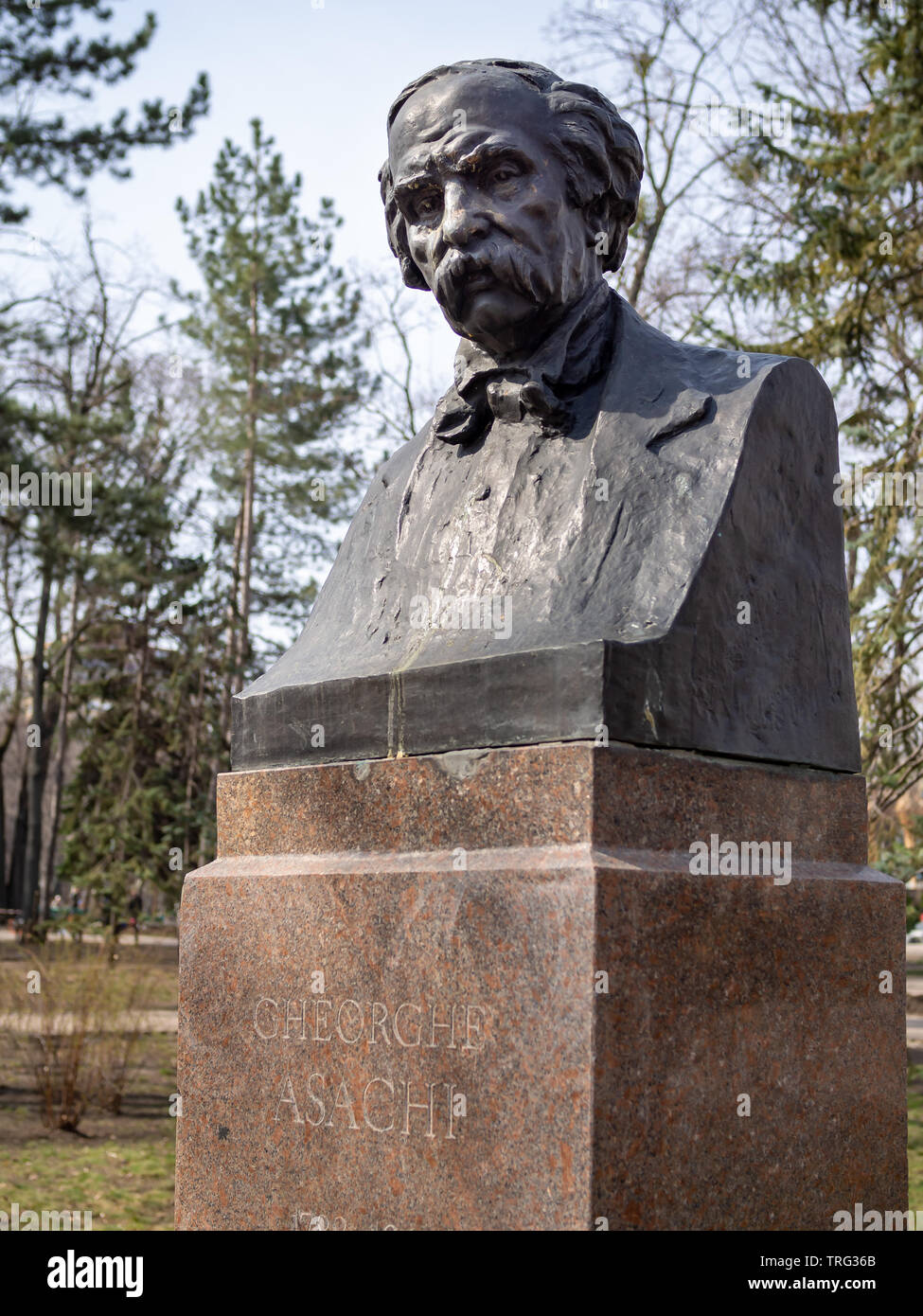 CHISINAU, MOLDOVA-MARCH 21, 2019:  Gheorghe Asachi bust by Lazar Dubinovschi in the Alley of Classics - Stock Image