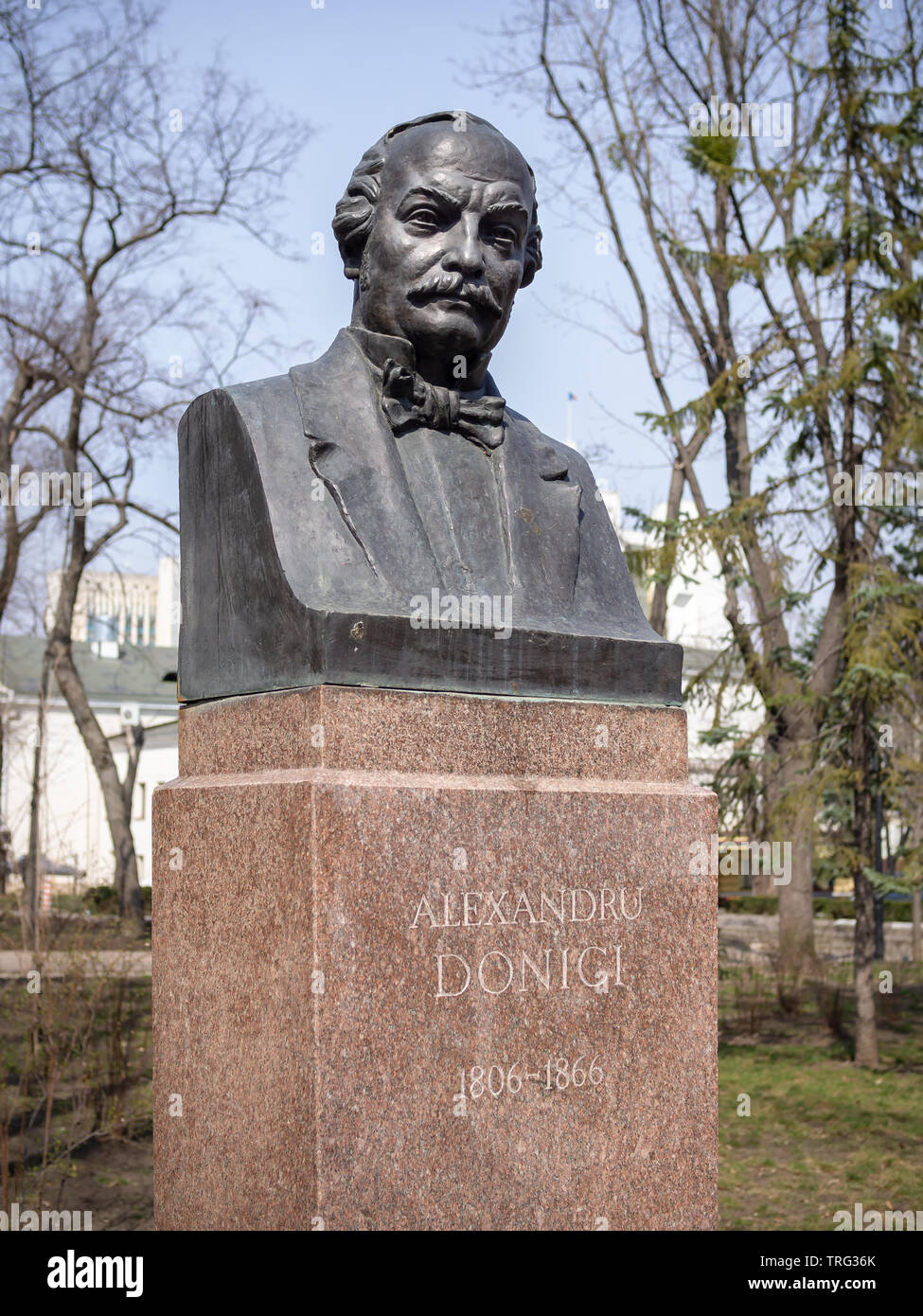 CHISINAU, MOLDOVA-MARCH 21, 2019:  Alexandru Donici bust by Ioan Cheptanaru in the Alley of Classics - Stock Image