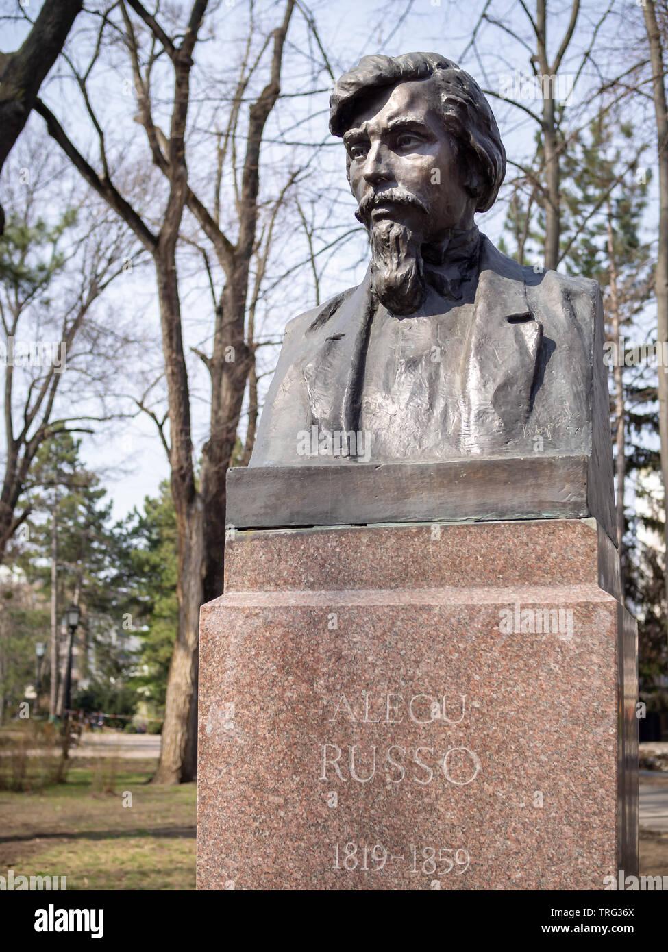 CHISINAU, MOLDOVA-MARCH 21, 2019: Alecu Russo bust by Vasili Larcenko in the Alley of Classics - Stock Image