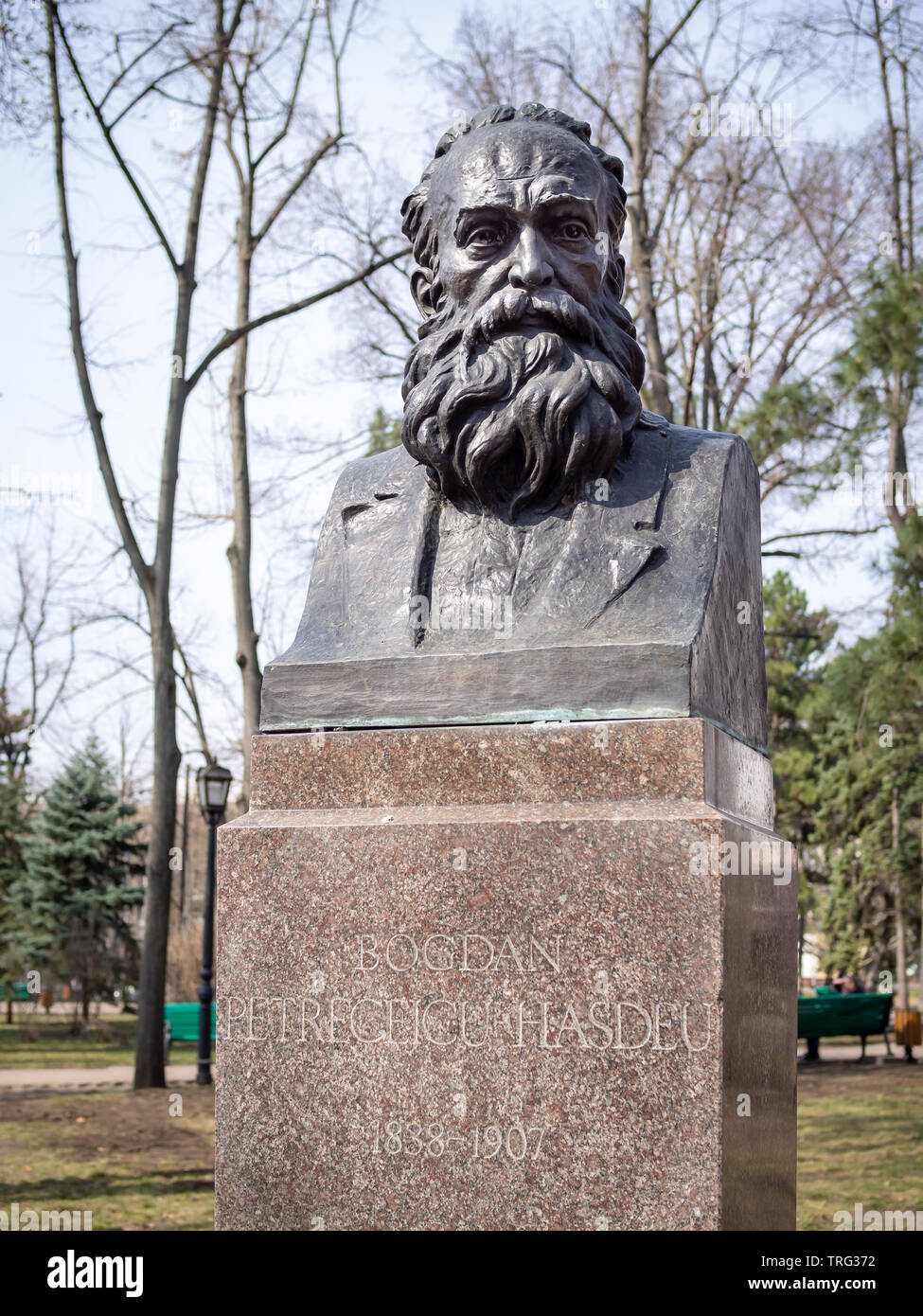 CHISINAU, MOLDOVA-MARCH 21, 2019:  Bogdan Petriceicu Hasdeu bust by Ioan Cheptanaru in the Alley of Classics - Stock Image