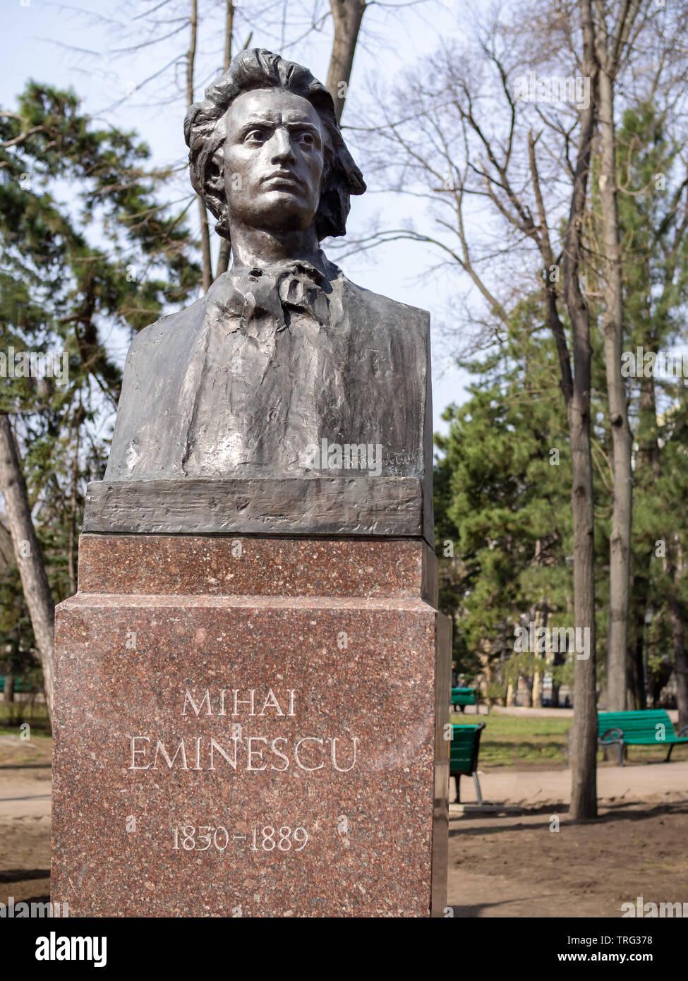 CHISINAU, MOLDOVA-MARCH 21, 2019: Mihai Eminescu bust by Lazar Dubinovschi in the Alley of Classics - Stock Image