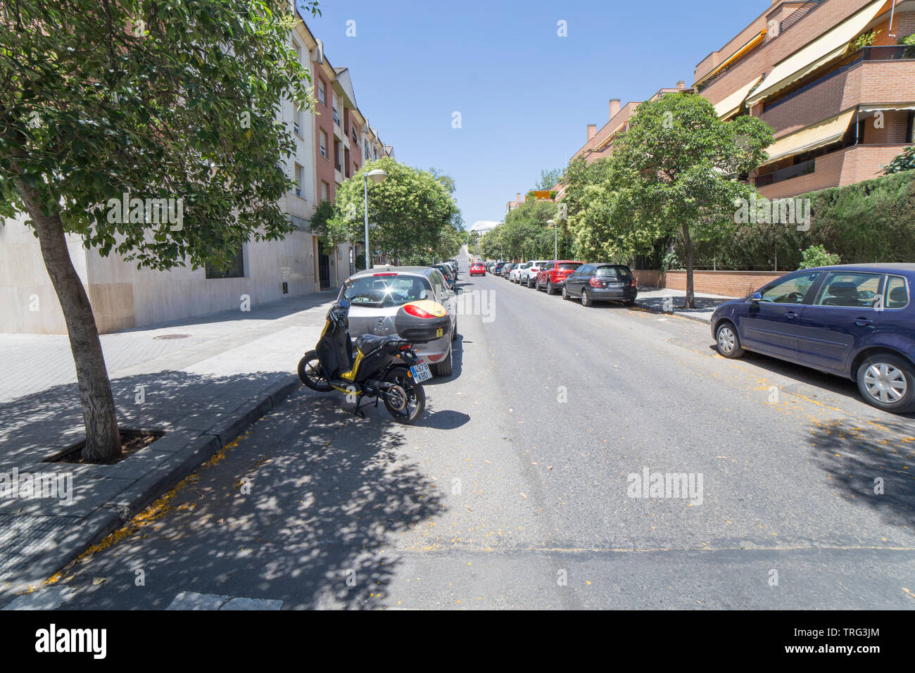 Cordoba, Spain - May 30th, 2019: Norte Sierra district. Cordoba, Spain. Escultor Gomez del Rio street - Stock Image