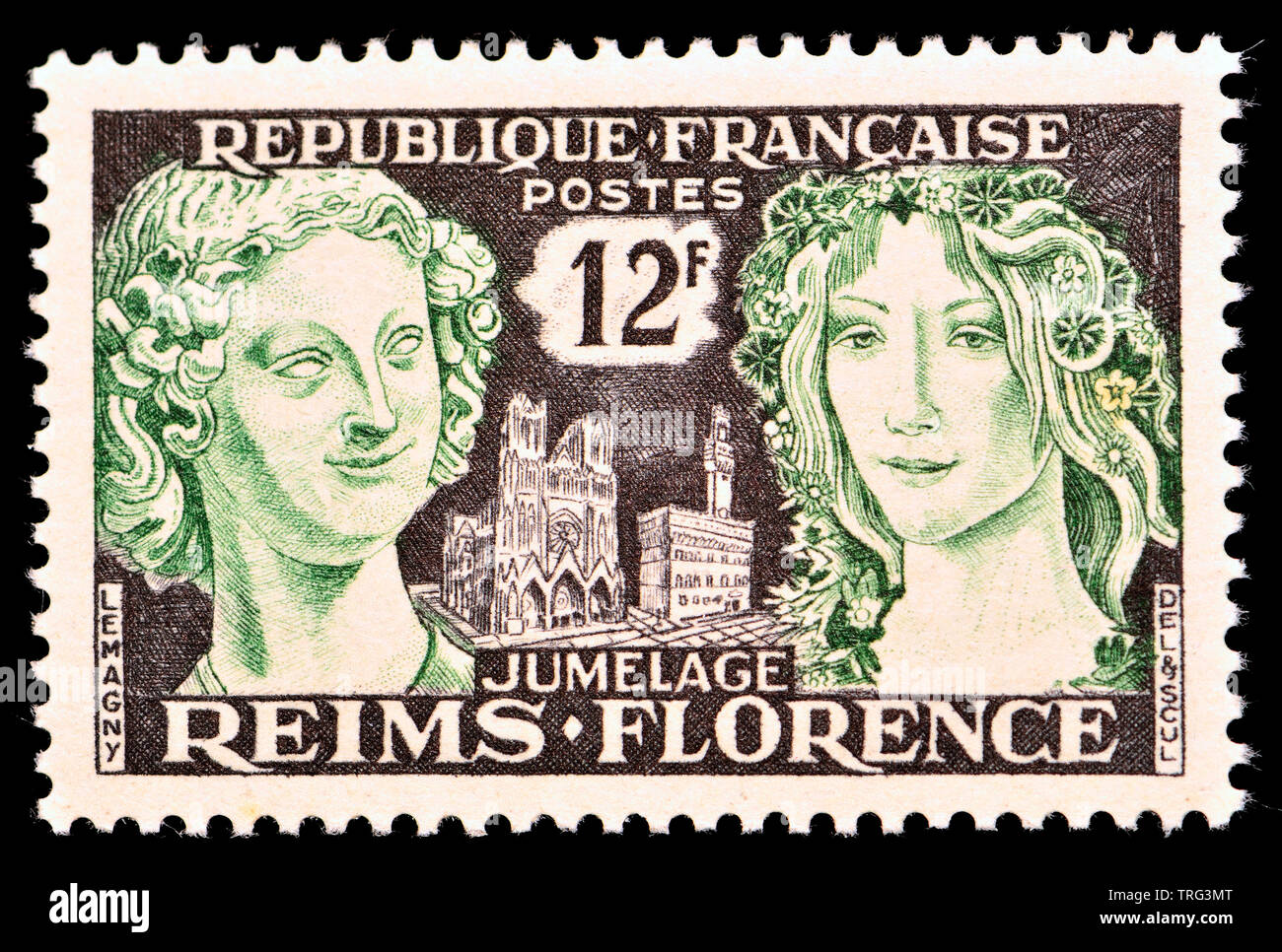 French postage stamp (1956) : Twinning of Florence and Reims - Stock Image