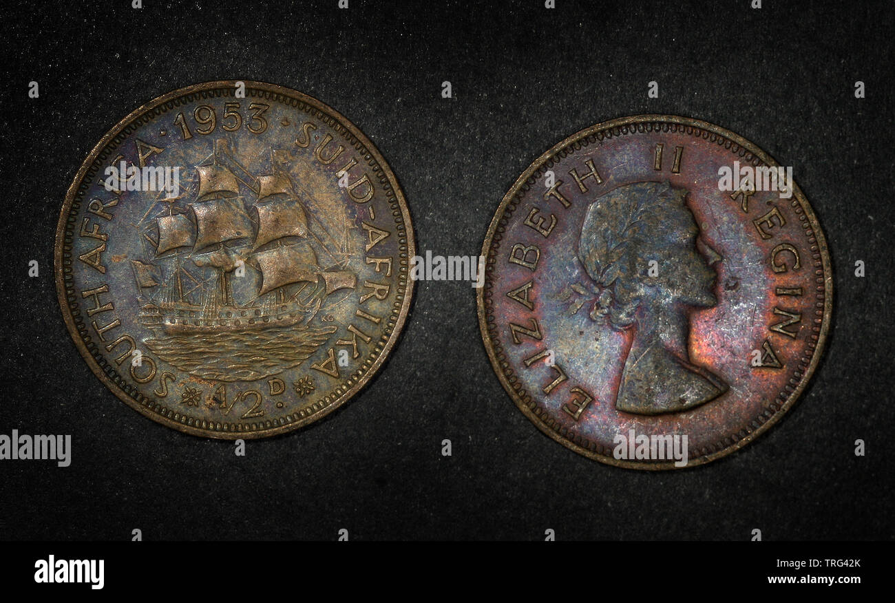 South Africa ½ penny, 1953 - Stock Image