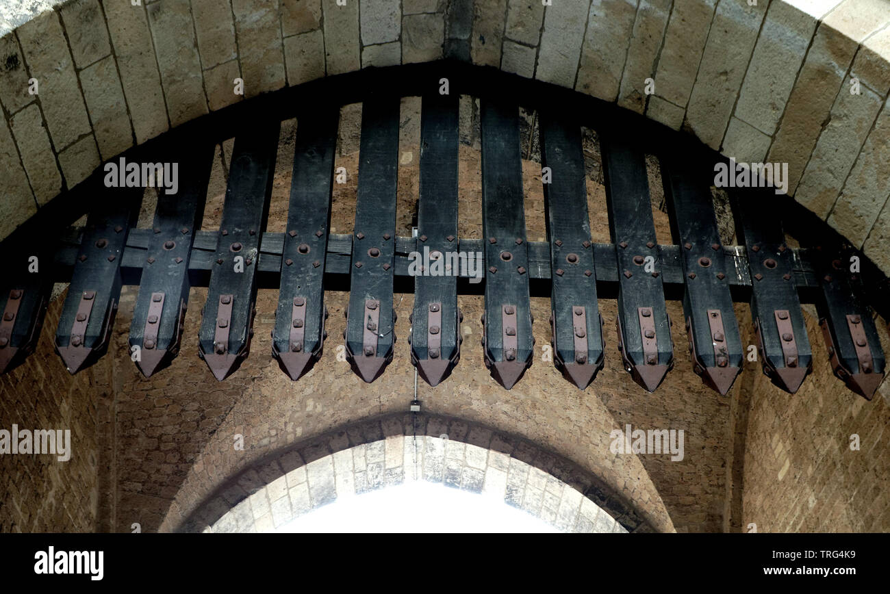 portcullis at a medieval city gate in cologne - Stock Image