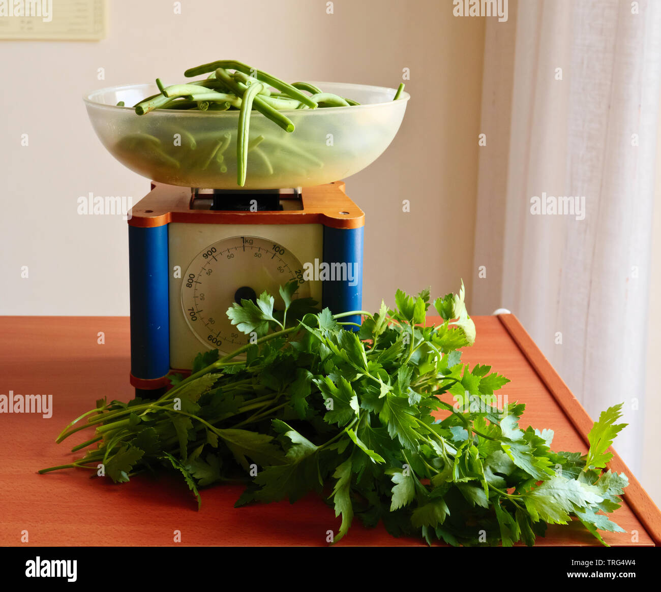fresh vegetables on the kitchen table . Stock Photo