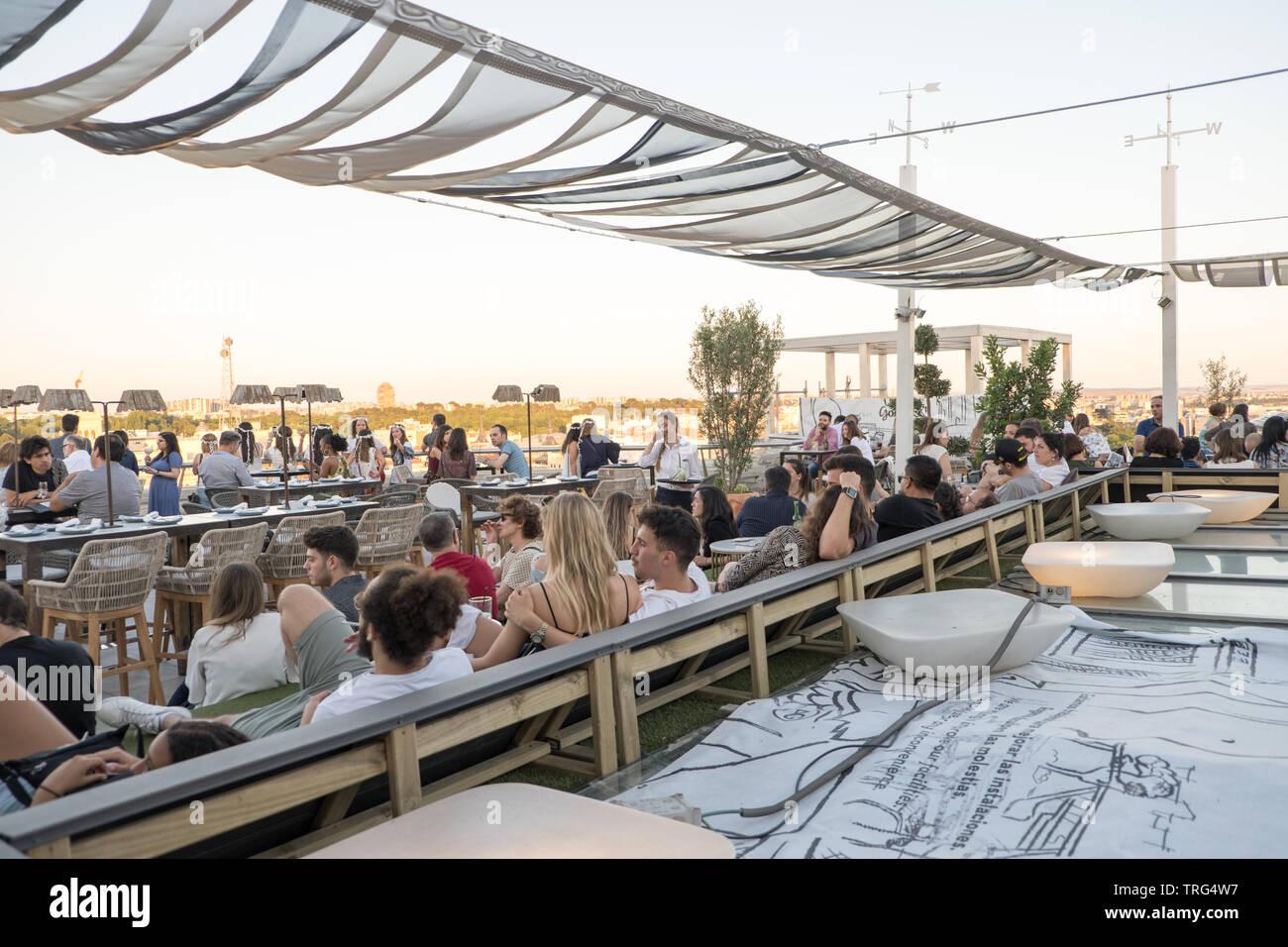 Azotea Rooftop Bar Over Circulo De Bellas Artes In Madrid