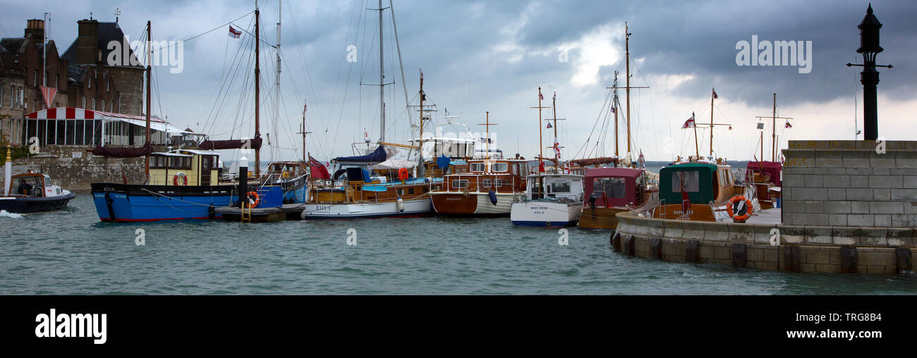 D Day, Little Ships, Dunkirk, Royal Yacht Squadron, Marina, Cowes, Isle of Wight, England, UK, - Stock Image