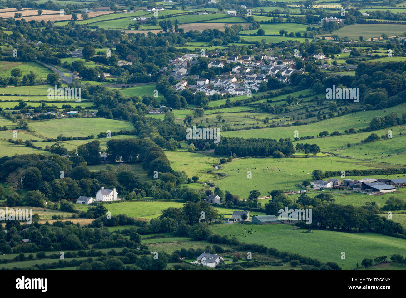 Forkhill and the border country from Slieve Gullion, Co Armagh, Northern Ireland - Stock Image