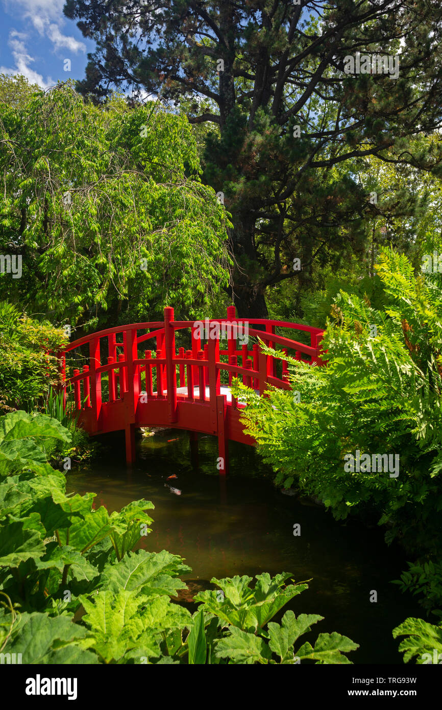 The small red wooden footbridge of the Bayonne botanical garden (France). This ornamental garden has been laid out according to a Japanese model. Stock Photo