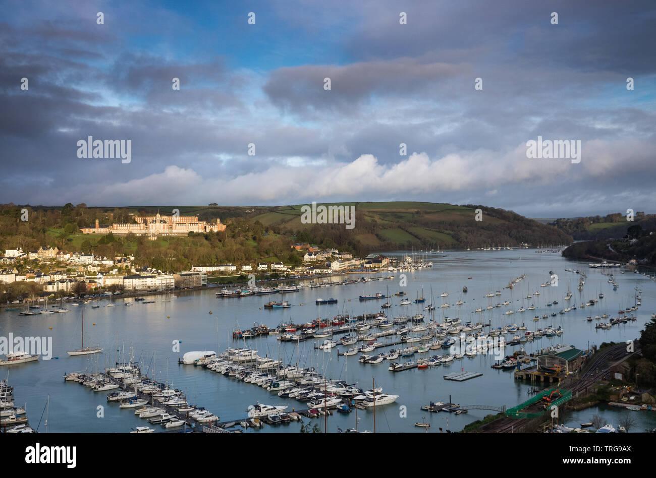 The Royal Naval College Brittania  and the Dart Estuary, Dartmouth, Devon, England, UK Stock Photo