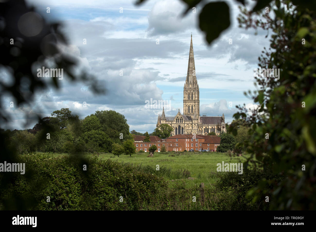 Salisbury Cathedral Wiltshire England UK. May 2019 Painted by the artist John Constable. Salisbury Cathedral, formally known as the Cathedral Church o Stock Photo