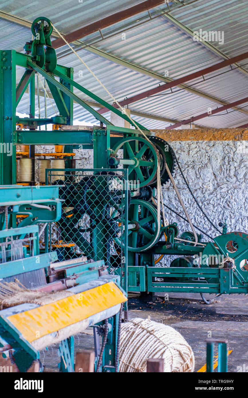 Vintage industrial machines for Agave fiber weaving, taken at the factory at Tecoh, in the Yucatan peninsula - Stock Image