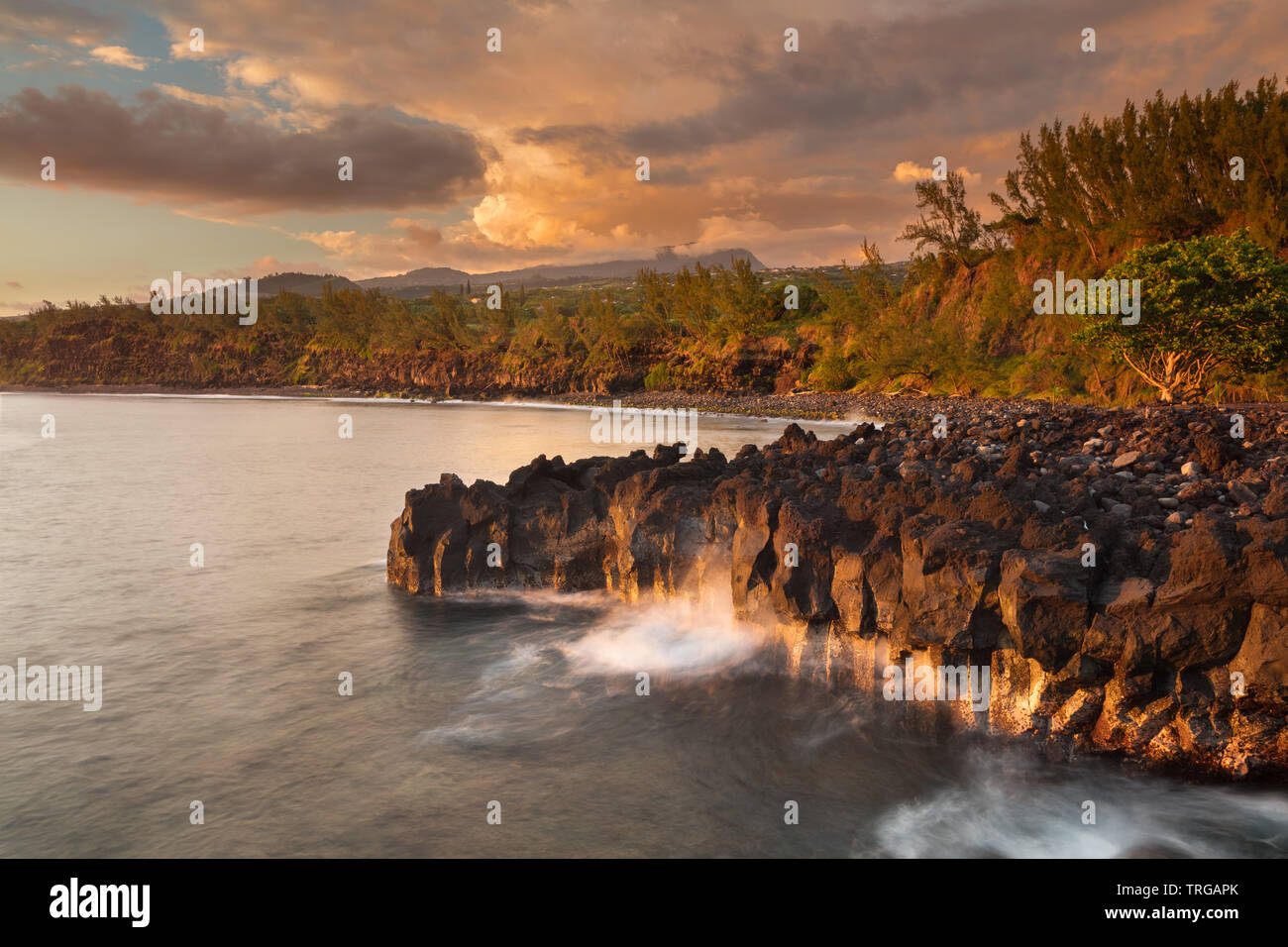 Pointe de Langevin, most southerly point of European Union, Réunion, France - Stock Image