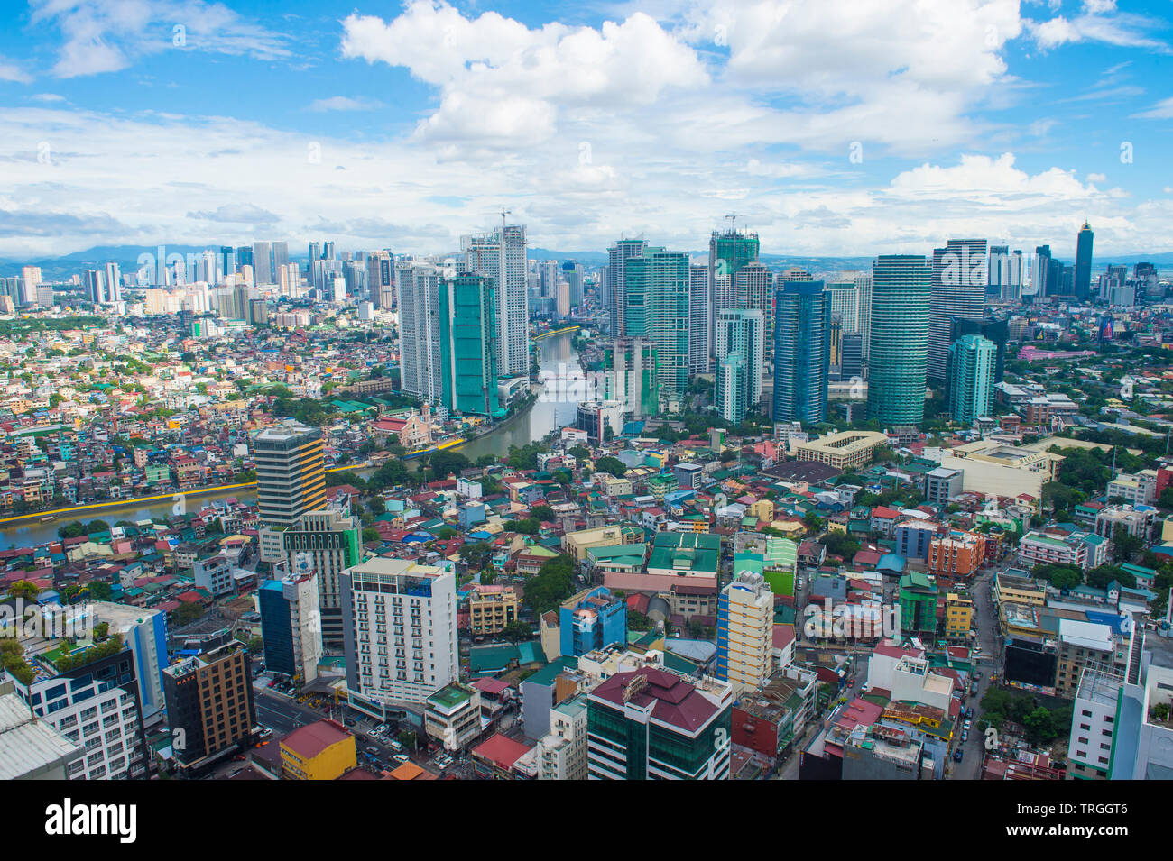 MANILA , PHILIPPINES - NOV 22 : City view of Manila Philippines from building in Makati on November 22 2018.  Manila is the most densely populated cit - Stock Image