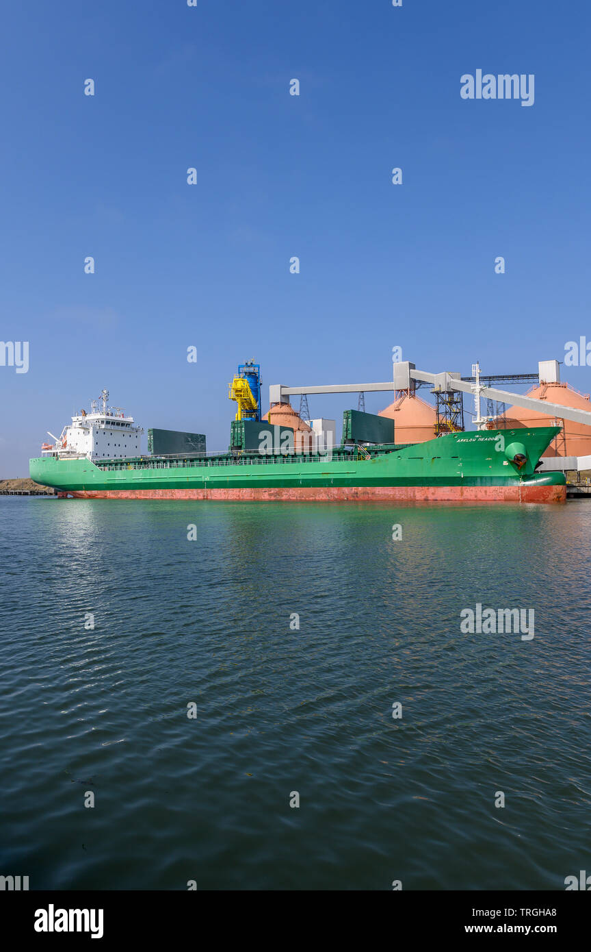 Arklow Meadow, Container shipmoored on the river Blyth in Northgumberland, UK - Stock Image