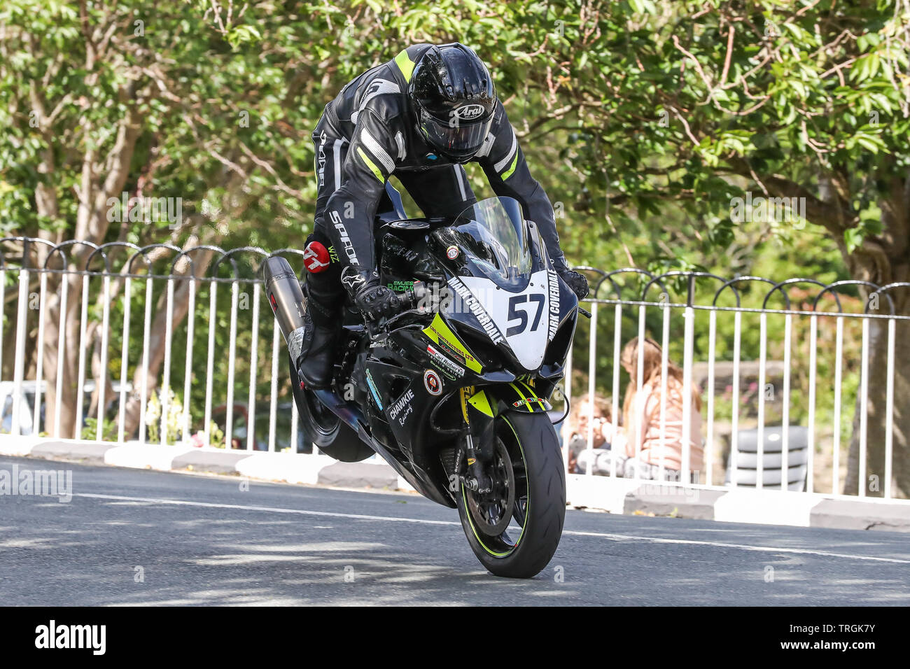 James Chawke (57) - Chawkie Racing Supporters Club GSXR 1000 in action in the RST Superbike class Race at the 2019 Isle of Man TT (Tourist Trophy) Rac - Stock Image