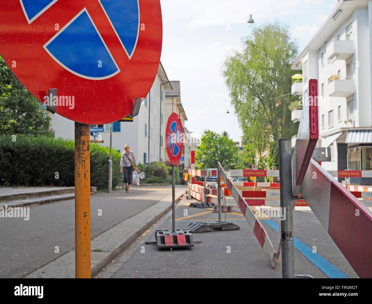 Baustelle auf der Minervastrasse in Zürich, Schweiz - Stock Image