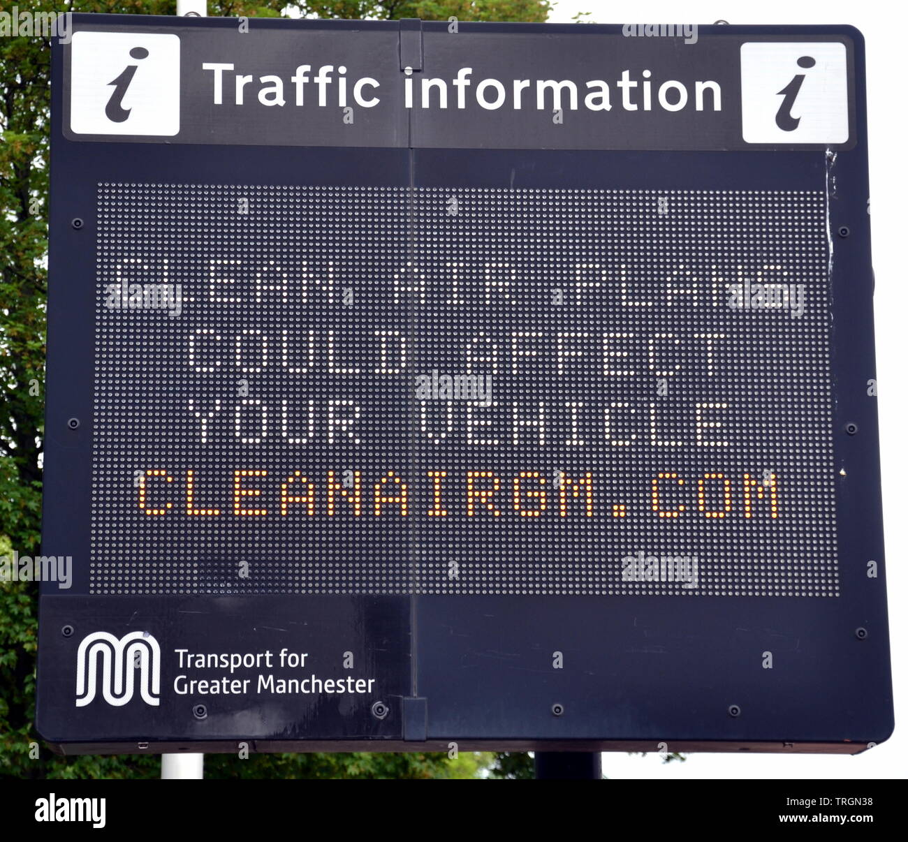A traffic sign in Manchester, uk, helps to advertise the Greater Manchester Clean Air Plan to reduce air pollution - Stock Image
