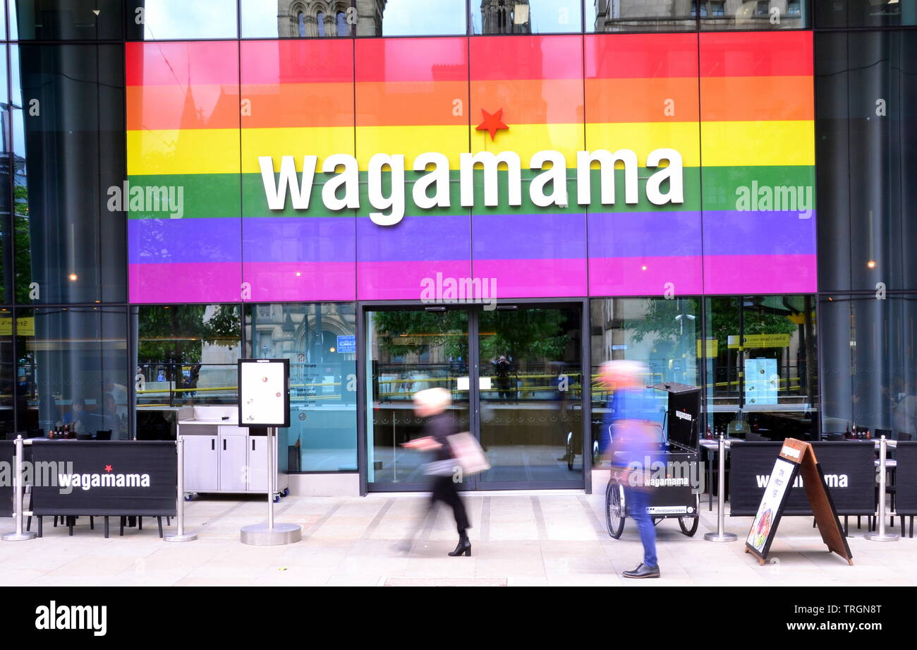 Exterior of Wagamama Restaurant in St Peter's Square, city centre Manchester, uk - Stock Image