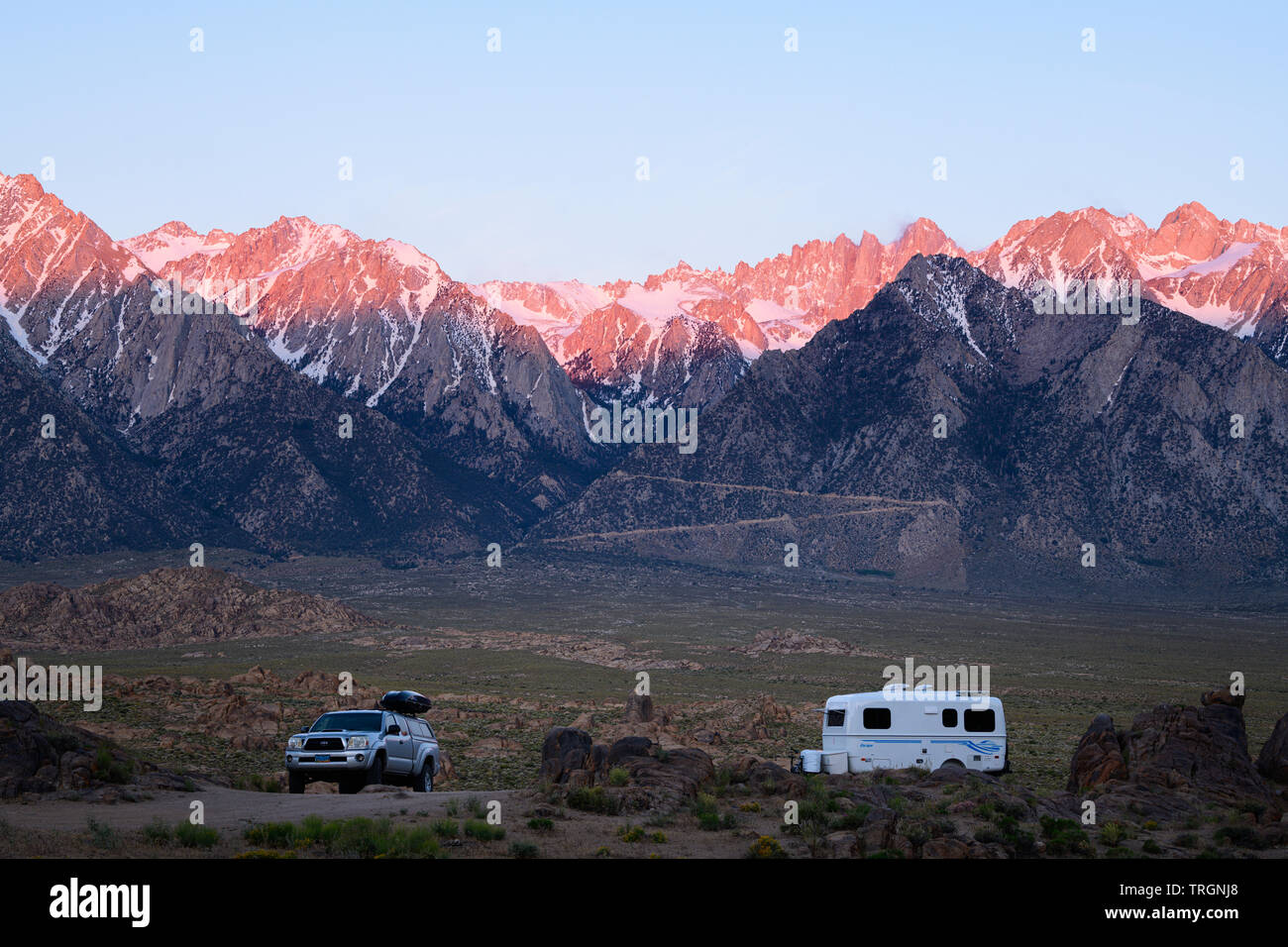 Escape Trailer in the Alabama Hills near Lone Pine, California just below Mt. Whitney in the Eastern Sierra's. - Stock Image
