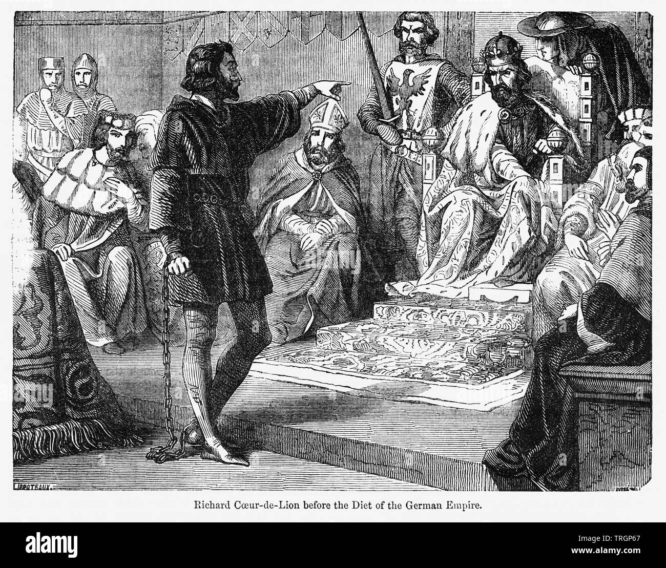 Richard Coeur de Lion before the Diet of the German Empire, Illustration from John Cassell's Illustrated History of England, Vol. I from the earliest period to the reign of Edward the Fourth, Cassell, Petter and Galpin, 1857 - Stock Image