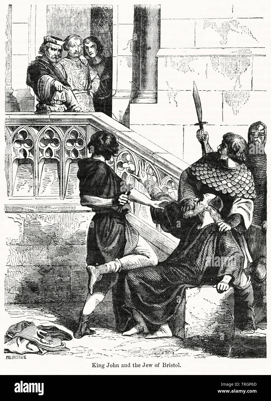 King John and the Jew of Bristol, Illustration from John Cassell's Illustrated History of England, Vol. I from the earliest period to the reign of Edward the Fourth, Cassell, Petter and Galpin, 1857 - Stock Image