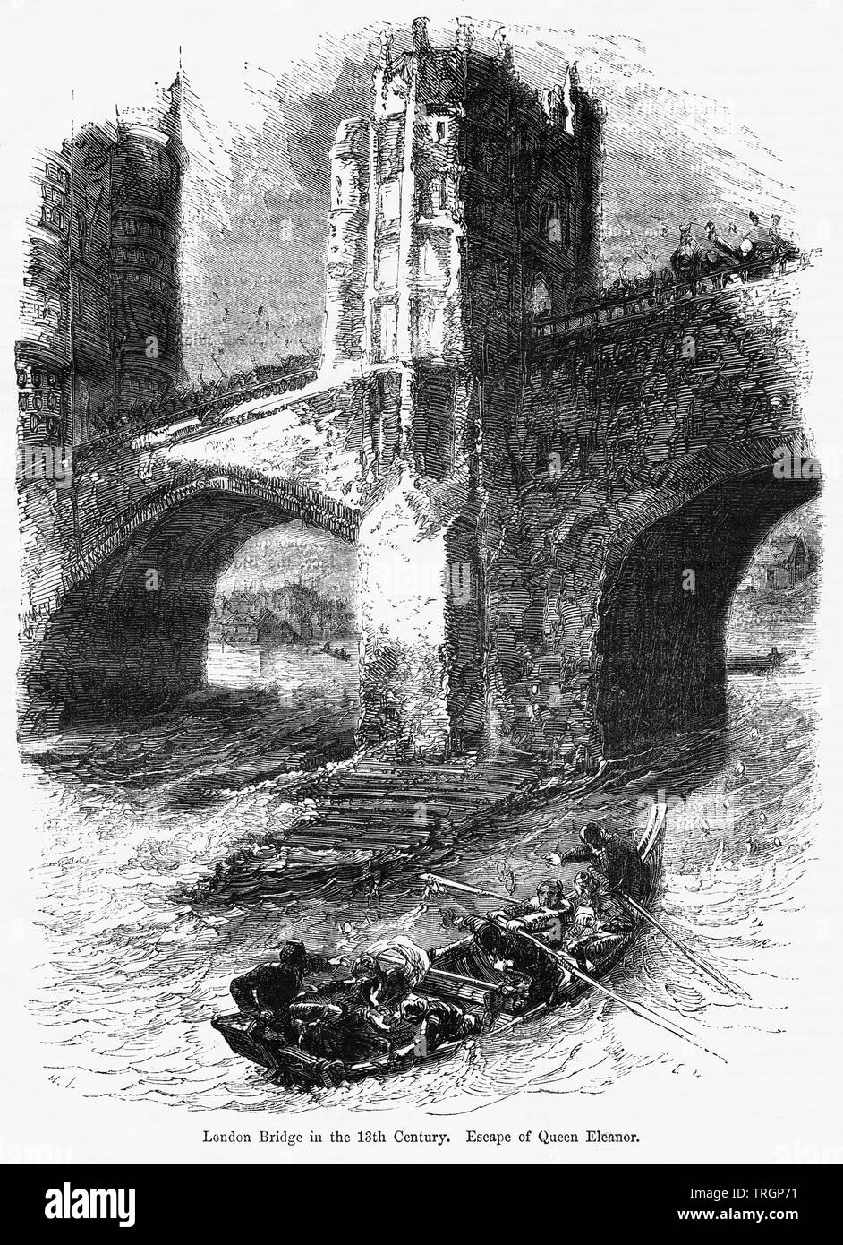 London Bridge in the 13th Century, Escape of Queen Eleanor, Illustration from John Cassell's Illustrated History of England, Vol. I from the earliest period to the reign of Edward the Fourth, Cassell, Petter and Galpin, 1857 - Stock Image