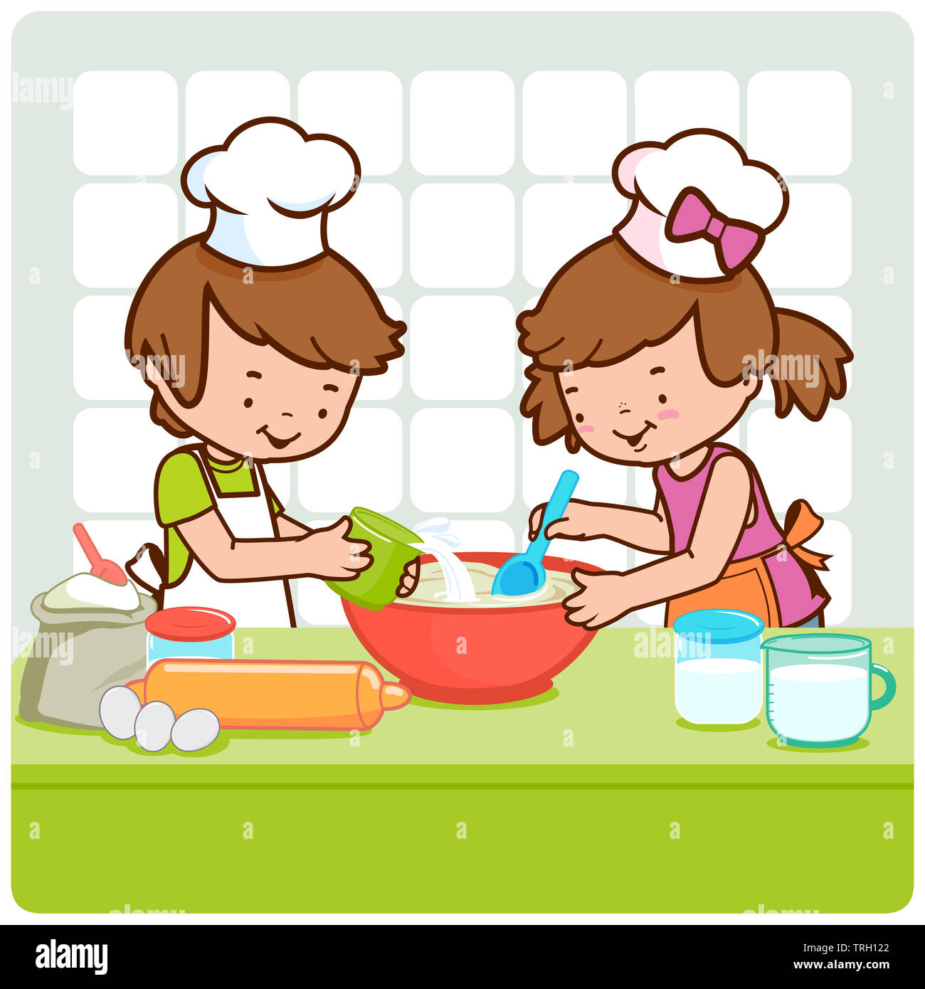 Cartoon Chef Kids Baking Cooking High Resolution Stock Photography And Images Alamy